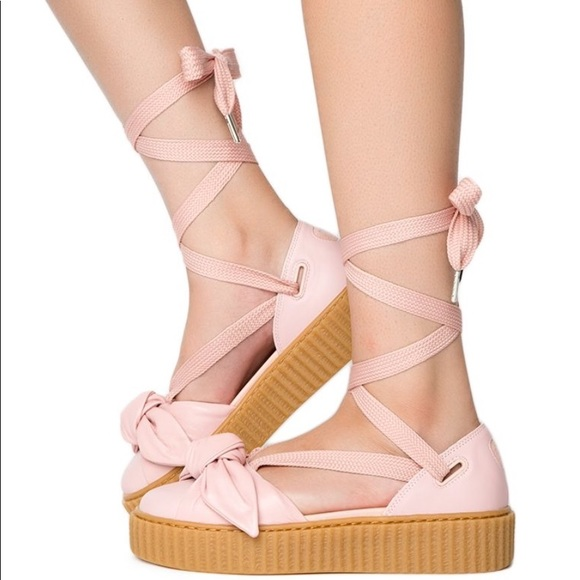 PUMA X FENTY Rihanna Pink Bow Lace up. Sandals NEW 89a2baf32